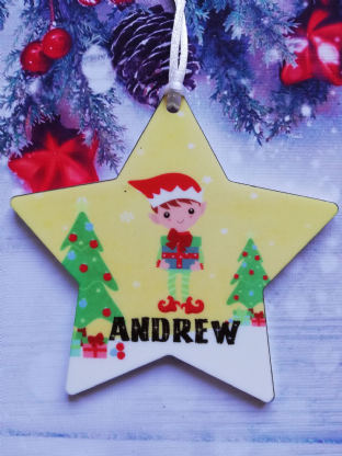 Christmas Elf Star Ornament Decoration